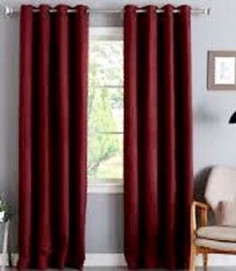2 Burgundy Grommet Panel Window Curtain 99 Blackout