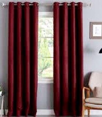 "2 BURGUNDY PANELS SILK THERMAL LINED BLACKOUT GROMMET WINDOW CURTAIN K32 108/"""