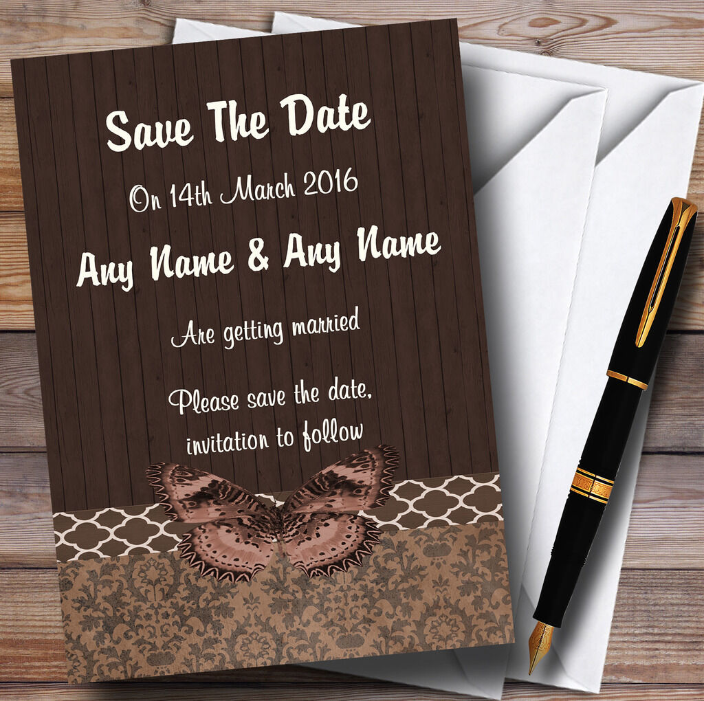 Rustic Vintage Wood Butterfly Brown Personalised Wedding Save The Date Cards