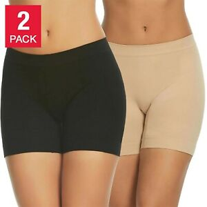 Gloria Vanderbilt 2-Pack Womens Seamless Slip Short, Black