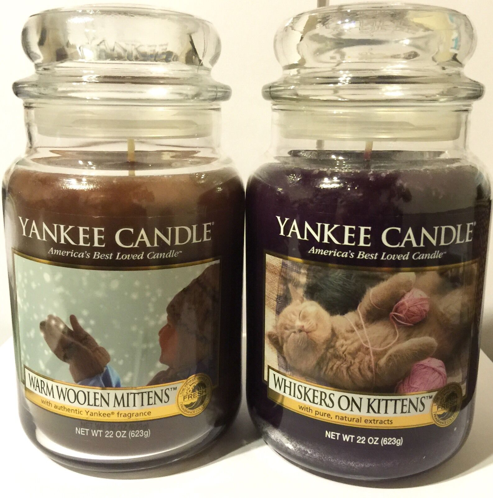 YANKEE CANDLE WARM WOOLEN MITTENS WHISKERS ON KITTENS SOY WAX SCENTED CANDLE SET