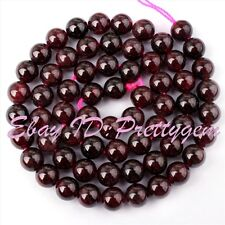 """6MM NATURAL ROUND GARNET GENSTONE SPACER BEADS FOR JEWELRY MAKING STRANDS 15"""""""