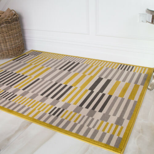 À Rayures Ocre Jaune Gris Tapis Nordic Scandi rayé Geo Tapis Trendy Moderne Rugs