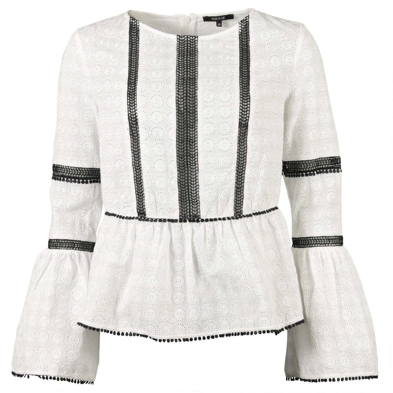Nikkie folklore Camicia Nero Bianco Volant Taglia 34  NUOVO  69833