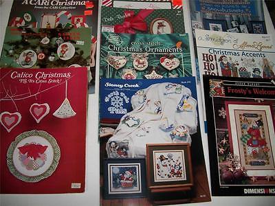 10 cross stitch pattern booklet Xmas snowman ornament Mary Ellen Dale Burdett
