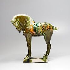 "Vintage Chinese Ceramic Tang Horse Sancai Tri-Colored Glaze 6"" High"