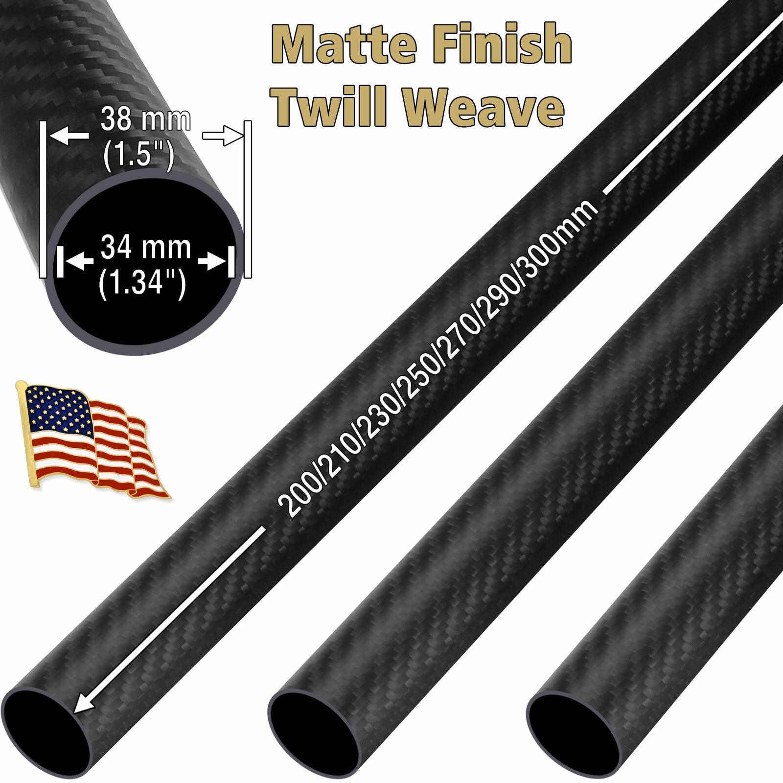 OD 38mm x ID 34mm x 200 220 250 300mm Matte Twill Weave 3K autobon Fiber Tube