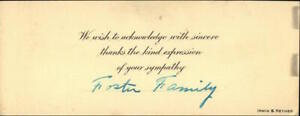 Letter A card signed from the Foster family. Foster