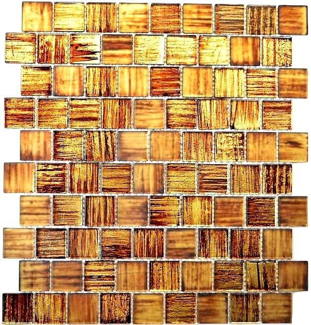 Glasmosaik Struktur braun mix klar gefrostet Fliesenspiegel Art 68-CF45 10Matten