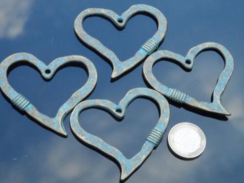 2 Colgantes Zamak Turquesa Bronce corazon collares azul corazones TURQ-01