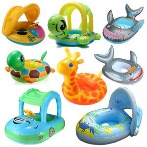 Baby-Kinder-Schwimmsitz-Babyboot-Schwimmsessel-Schwimmring-Schwimmhilfe-mit-Dach