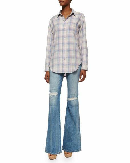 Authentic Current Elliott Girl Crush Flare Distressed Jeans Sz 26 Retail  248