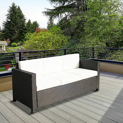 Outsunny Deluxe Rattan Sofa Seat Couch Patio Wicker Outdoor Furniture 3 Seat