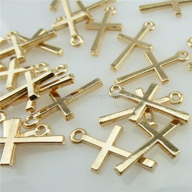 14031 100PCS Rose Gold Tone Mini Religious Faith Cross Pendant Charms