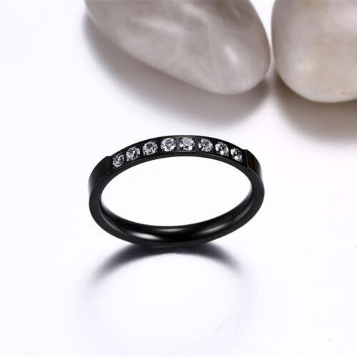 3 mm Acier Inoxydable Zircone Cubique Bande Hommes//femme argent//or//noir//rose gold ring Taille 5-8