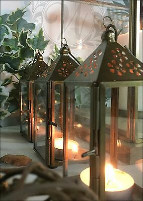 Tea Light Lantern Holder Candle Style Vintage Gold Brass Glass Copper Set of 3