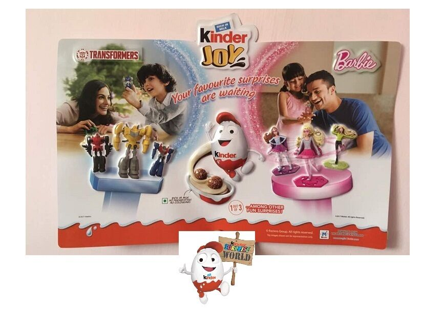 Kinder Surprise 3D Mould Poster Toy Transformers Barbie Display INDIA 2017 Rare