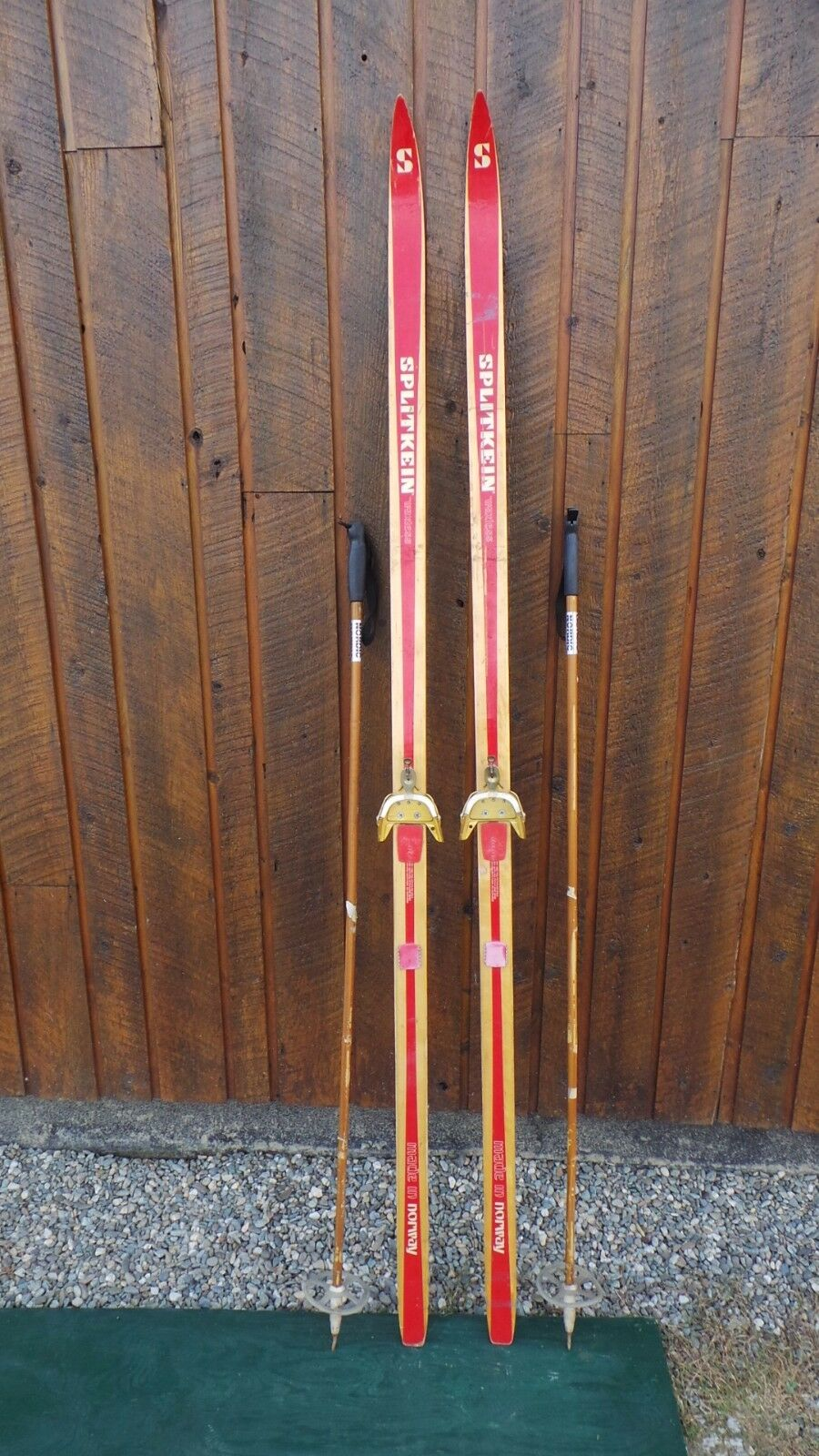 BEAUTIFUL Vintage Wooden 78   Long Skis BLOND AND RED Finish SPLITKEIN + Poles  get the latest
