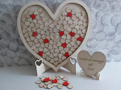 125 cuori inclusi! Guestbook cuore gigante in legno lascia messaggio agli sposi