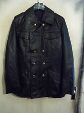 "VINTAGE HACKEL & GERMAN LEATHER POLICE OFFICERS JACKET SIZE 40"" PEA COAT"