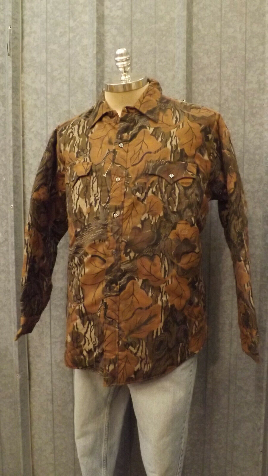 Vtg NEW Whitewater Outdoors Mossy Oak Fall Foliage Camo Quiltd Shirt sz L