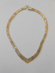 Details about Tri Color Vermeil Sterling Silver Italy Riccio V Chevron  Necklace Graduated 16