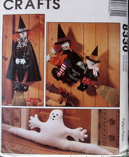 "Halloween WITCH 31/"" 54/"" pattern GHOST draft blocker wallhanging decor"