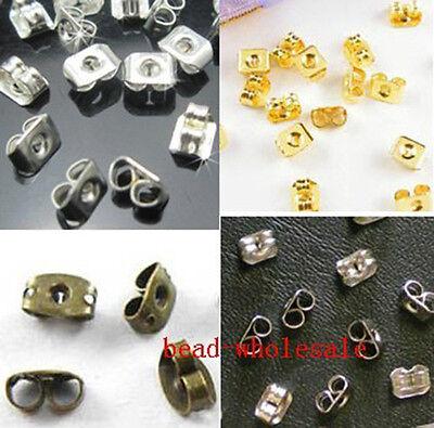 150pcs Lot Butterfly Earplug Ear Nut Silver/Gold/Bronze Earring Back Stopper 6mm