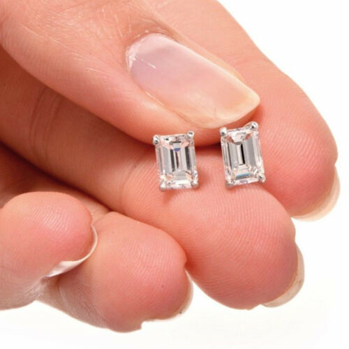 Details about  /2.0 ct Emerald Cut Solitaire Created White Sapphire Stud Earrings 14k White Gold