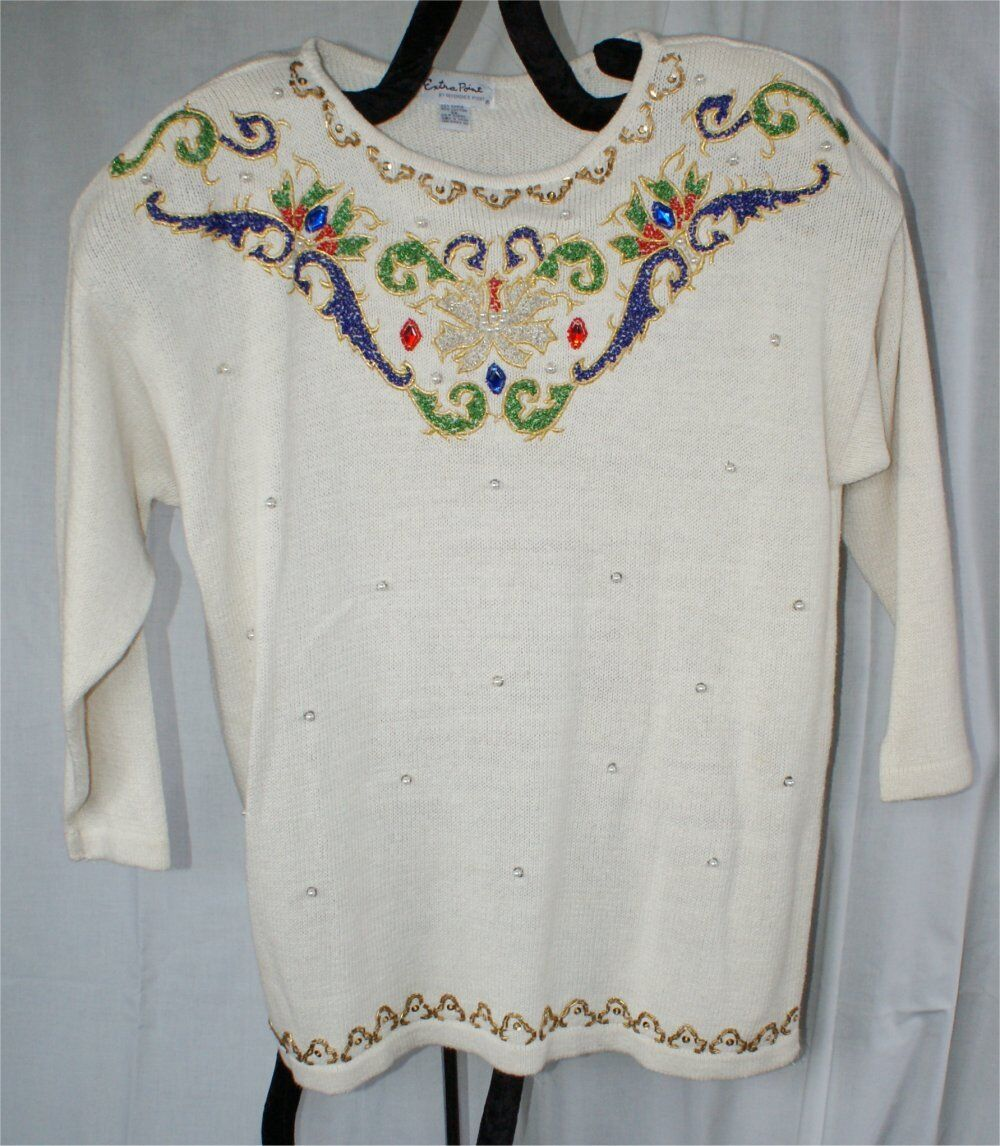Extra Point Reference Point Point Point Embroidered BEADED HOLIDAY  Ramie Cotton Sweater 3X eea500