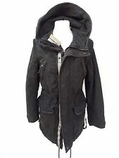 Ladies SUPERDRY BLACK HUNTER PARKA JACKET FAULTY ZIP Size SMALL (1476)