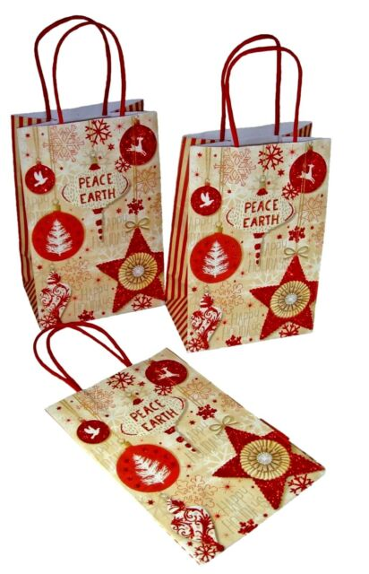 Gift Bags Peace on Earth Red Glitter
