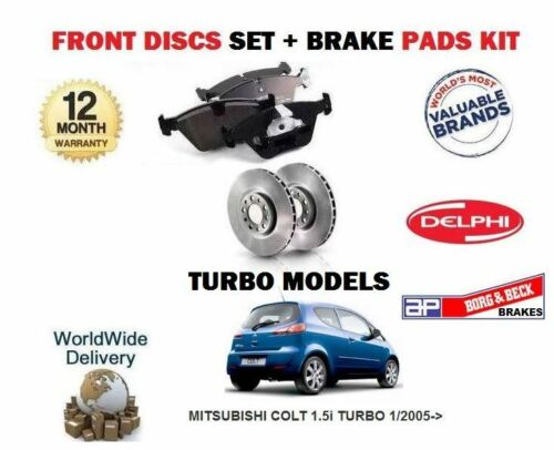 FOR MITSUBISHI COLT 1.5 TURBO 4G15T 1//2005-/> FRONT BRAKE DISCS DISC PADS SET