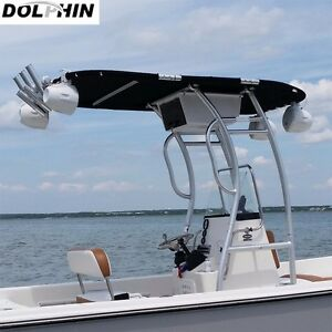 Image is loading Dolphin-Pro2-Center-Console-Boat-T-Top-Black- & Dolphin Pro2 Center Console Boat T Top | Black Canopy | Boat T-TOP ...