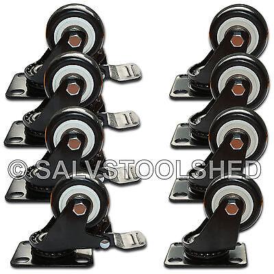 """8 × 50mm 2"""" PU Swivel Castors Wheels 4 Brakes Trolley Furniture Casters Rubber"""