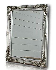 Specchio da parete argento barocco legno specchi bagno for Specchio barocco argento