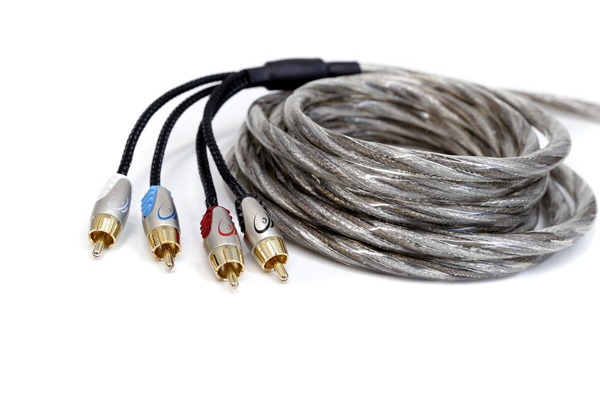 KnuKonceptz Krystal Twisted Pair OFC 4 Channel Smoke RCA Cable 20ft 6M