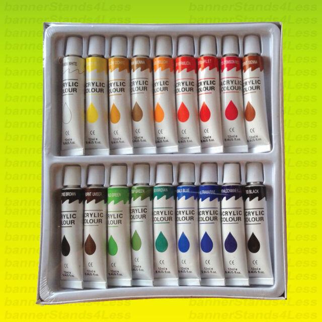 7cf90a169411 18 PC ACRYLIC PAINT Set Professional Artist Painting Pigment Tubes 12ml