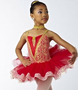 NWOT-Red-Gold-Short-tutu-Ballet-Costume-Lace-Hem-amp-Bodice-Wolff-Fording