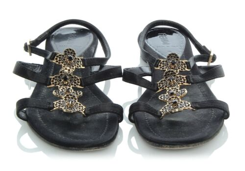 FENDI Black Flower Sandals, Size 38.5 8.5 Shoes
