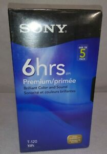SONY 5 Pack T-120 VHS PREMIUM 6 Hour Blank Tapes New Unopened