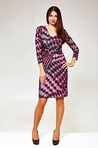 DRESS-WEAR-TO-WORK-LUX-STRETCH-MADE-IN-EUROPE-3-4-SLEEVE-PRINTED-SEXY-V-NECK