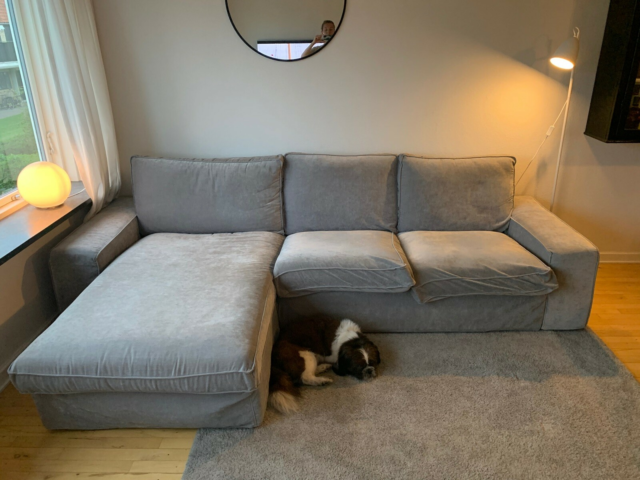 Chaiselong, velour, 3 pers. , ?, Lysegrå velour sofa.…