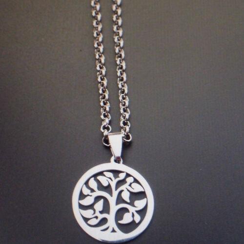 Damen Edelstahl Halskette mit Anhänger Lebensbaum Farbe Silber 1266