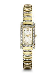 Bulova Women's Quartz Swarovski Crystal Accent Two-Tone 15mm Watch 98L204