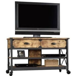 Image Is Loading TV Stand Rustic Table Console Media Cabinet Pine