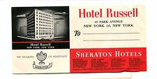 Vintage Hotel Luggage Label HOTEL RUSSELL SHERATON NYC NY address label