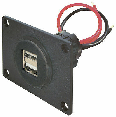 12V/24V Doppel USB Einbau Steckdose mit Frontplatte für KFZ Caravan