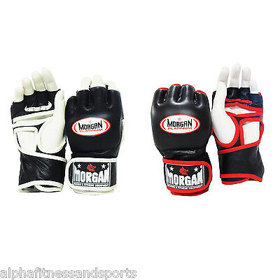 Morgan Platinum MMA Gloves Boxing New Muay Thai Bag Mitts Leather Punch Fight