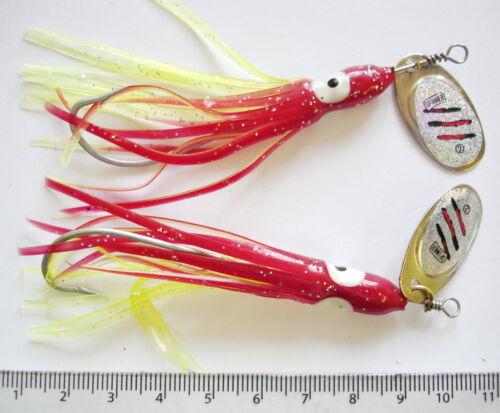 Pack de 2 Squid lure avec spinner attraction très efficace sur le bateau